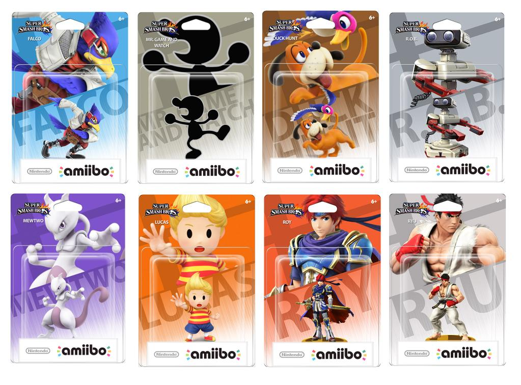 Amiibo of Falco, Mr Game & Watch, Duck Hunt Duo, R.O.B., Mewtwo, Lucas, Roy and Ryu