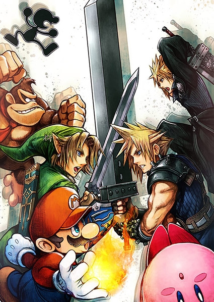 Cloud in Smash, clashing with Link